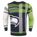 Seattle Seahawks Men's Plaid Crew Neck NFL Ugly Sweater