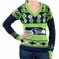 Seattle Seahawks Big Logo (Women's V-Neck) NFL Ugly Sweater