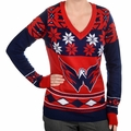 Washington Capitals  Big Logo (Women's V-Neck) NHL Ugly Sweater