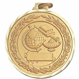 1 1/2 INCH GLOBE, LAMP, BOOKS, SCROLL MEDAL FOR IMPRINT - MULTIPLE COLORS