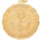 1-1/2 INCH IN HONOR OF ACADEMIC EXCELLENCE MEDAL, DIAMOND CUT BORDER - MULTIPLE COLORS
