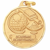 1 1/4 INCH GLOBE WITH LAMP AND BOOKS, ACADEMIC ACHIEVEMENT STAMPED MEDAL