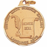 1 1/4 INCH HONOR ROLL MEDAL, GOLD