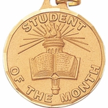 1 1/4 INCH STUDENT OF THE MONTH MEDAL, GOLD