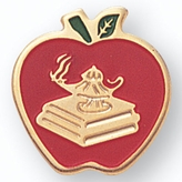 APPLE WITH LAMP & BOOK PIN