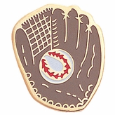 BASEBALL & GLOVE ENAMELED PIN