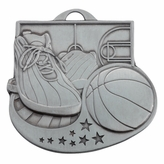 BASKETBALL MEDAL SILVER - MULTIPLE COLORS