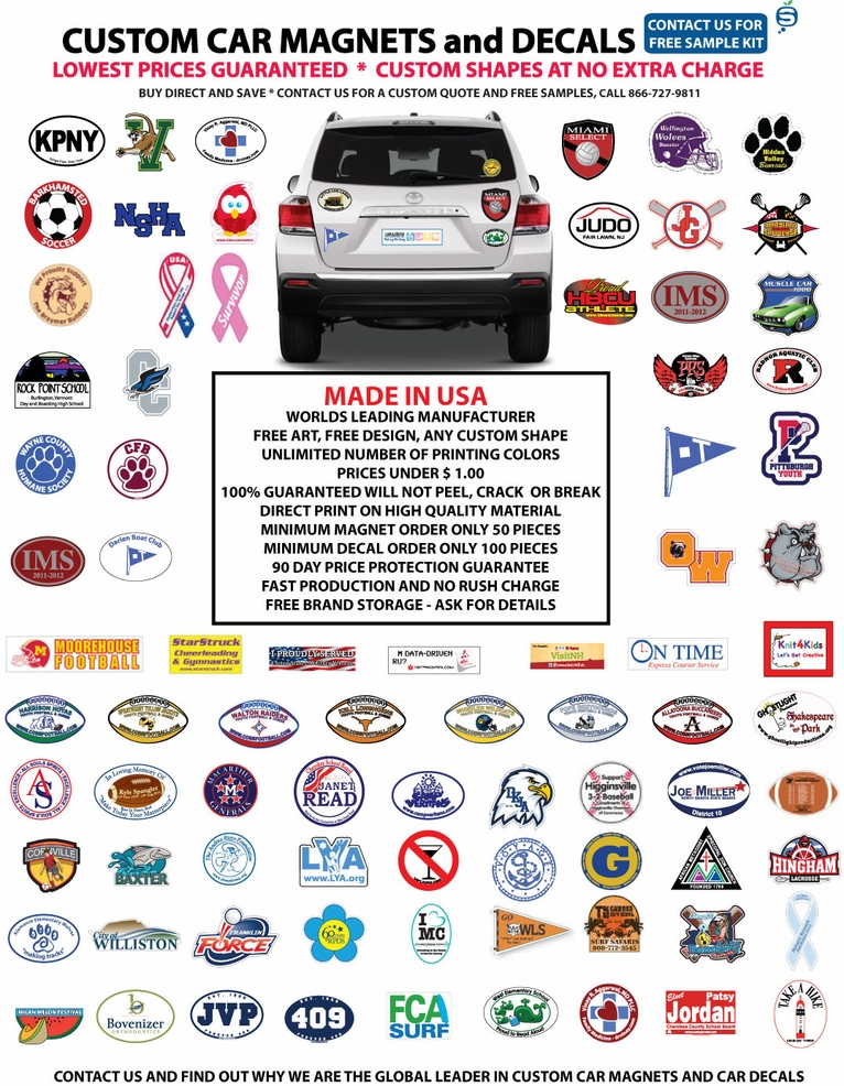Custom Car Decals Custom Car Magnets Steelberry - Car magnets for sport fundraiser