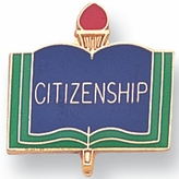 CITIZENSHIP PIN ENAMELED GOLD