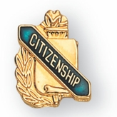 CITIZENSHIP PIN GOLD ENAMELED