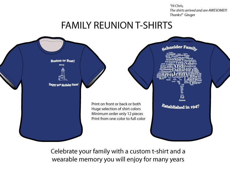 Family reunion t shirts for Printed t shirts for family reunion