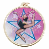 GYMNSTICS FEMALE MEDAL WITH 2 INCH MYLAR