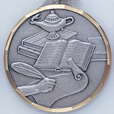 LAMP OF LEARNING BOOK AND SCROLL, SILVER MEDAL