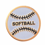 SOFTBALL ENAMELED PIN GOLD