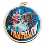 TRIATHALON MEDAL WITH 2 INCH MYLAR