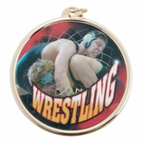 WRESTLING MEDAL WITH 2 INCH MYLAR
