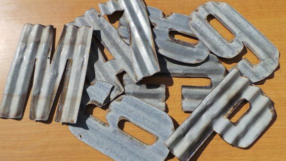 10 in recycled corrugated metal letters a z With corrugated metal letters wholesale