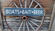 Boats Bait Beer Distressed Wood Sign