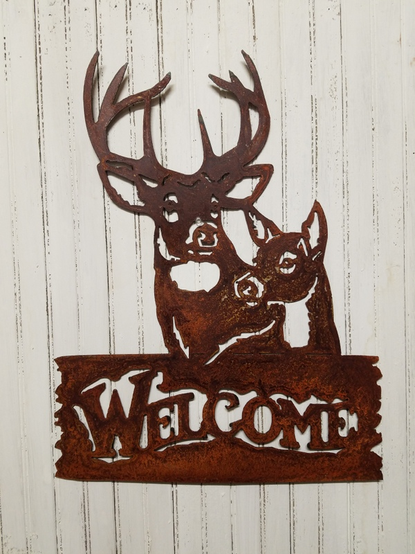 buck and doe welcome sign