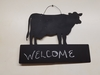 Chalkboard Cow with Block Wall Hanging