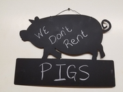 Chalkboard Pig with Block Wall Hanging