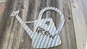Corrugated Grow with Flower Watering Can Sign