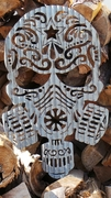 Corrugated Metal Sugar Skull Day of the Dead Wall Hanging Sign #2