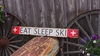 Eat Sleep Ski Distressed Wood Sign
