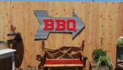 Large Corrugated Metal Arrow with BBQ
