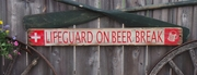 Lifeguard on Beer Break Distressed Wood Sign