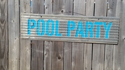 Metal Pool Party Sandwich sign
