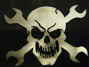 Metal Skull and Cross Wrenches Sign