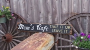 Mom's Cafe Take It Or Leave It Distressed Wood Sign