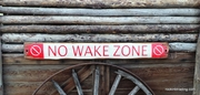 No Wake Zone Distressed Wood Sign