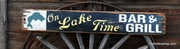 On Lake Time Bar & Grill Distressed Wood Sign