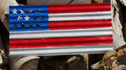 Painted Corrugated Metal American Flag Fourth of July Sign
