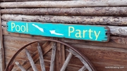 Pool Party with Swimmer Distressed Wood Sign