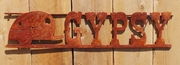 Rusted Metal Gypsy with Vintage Trailer Sign