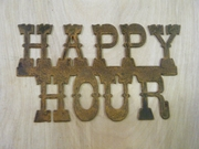 Rusted Metal Happy Hour Sign