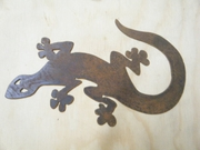 Rusted Metal Lizzard-Gecko Wall Hanging Silhouette