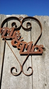 Rusted Metal Mr. and Mrs. Heart Sign
