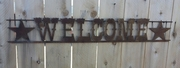 Rusted Metal Welcome with Star Horizontal Sign
