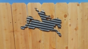 Small Corrugated Metal Bronc Rider Wall Hanging Sign