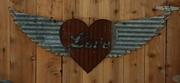 Up-cycled Corrugated Metal Wings with Love and Heart