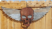 Up-cycled Corrugated Metal Wings with Skull