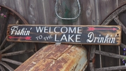 Welcome to the Lake Distressed Wood Signs