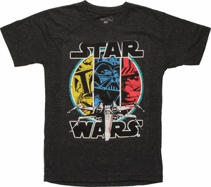 Star Wars 3 Characters X-Wing Youth T-Shirt
