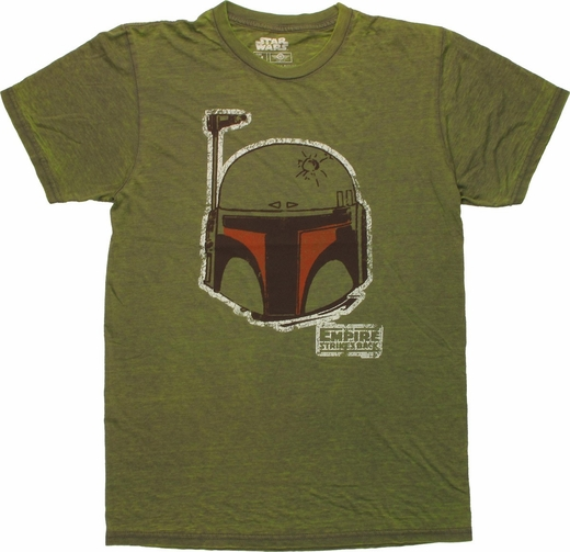 Star Wars Boba Fett Head Burnout T Shirt Sheer