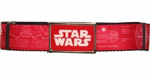 Star Wars Falcon Blueprints Red Wide Mesh Belt