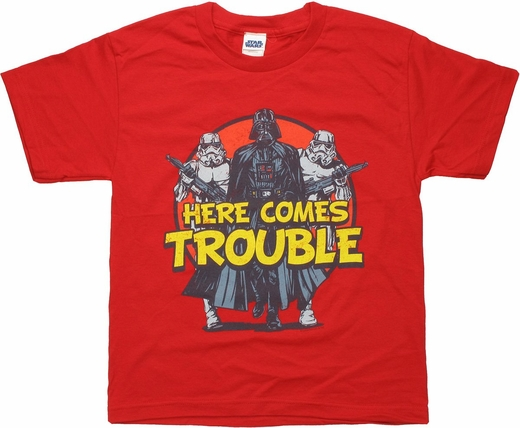 Star Wars Here Comes Trouble Youth T Shirt